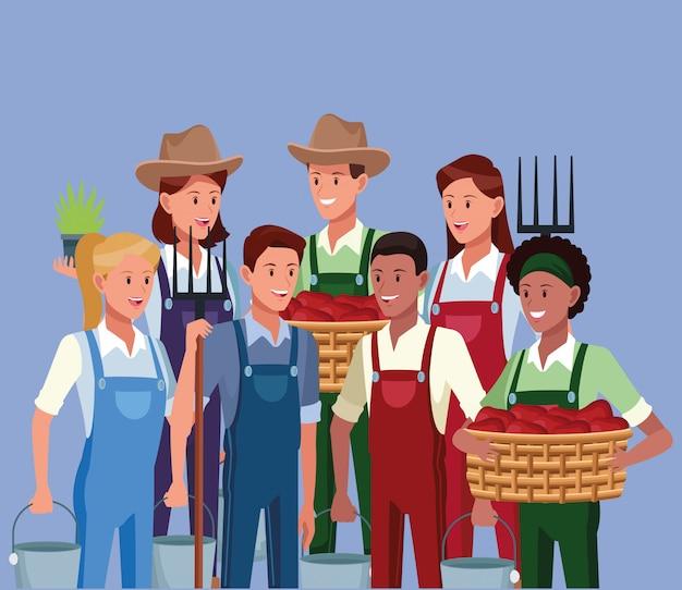 Rolnicy Pracujący W Kreskówkach Rolniczych Darmowych Wektorów
