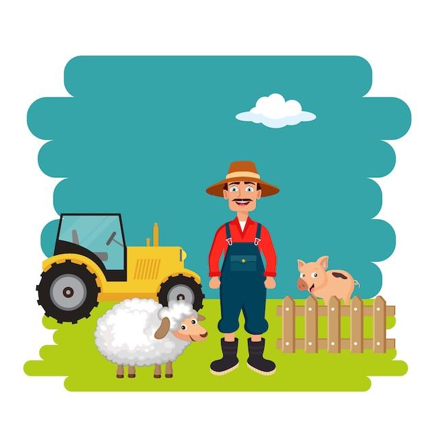 Rolnik W Scenie Farmy Premium Wektorów