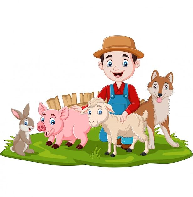 Rolnik Ze Zwierzętami Hodowlanymi W Trawie Premium Wektorów