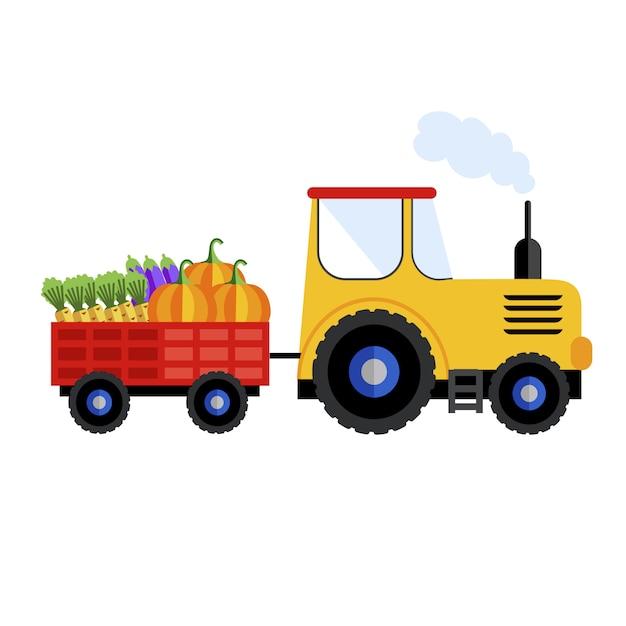 Rolny ciągnik na białym tle, ikona. Premium Wektorów