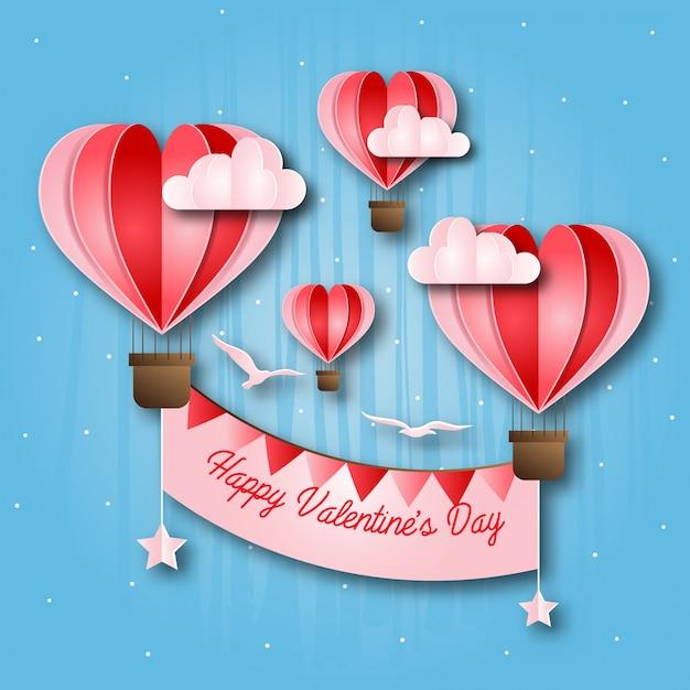 Romantyczna gorącego powietrza balonu papieru sztuki walentynki karty szczęśliwa ilustracja Darmowych Wektorów