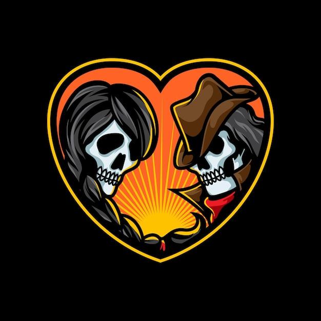 Romantyczna Ilustracja Para Czaszki Premium Wektorów