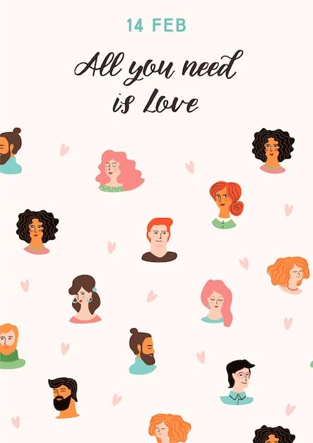 Romantyczna Ilustracja Z Cute Młodych Kobiet I Mężczyzn W Miłości. Premium Wektorów