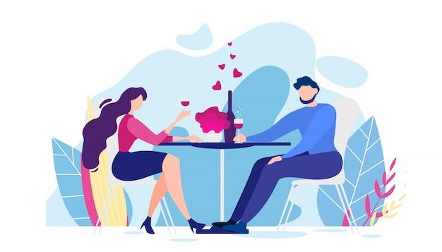 Romantyczna kolacja cartoon man and woman table Premium Wektorów