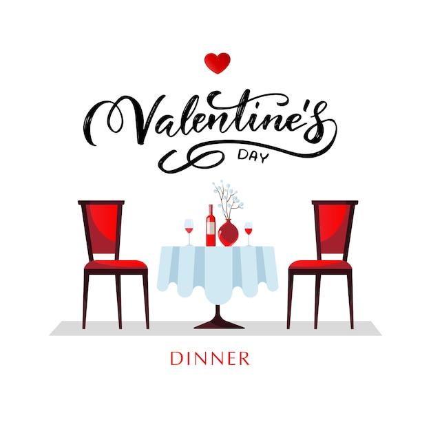 Romantyczna Kolacja Na Walentynki. Stół Z Białym Obrusem, Podawany Z Kieliszkami, Winem I Porcelaną Premium Wektorów