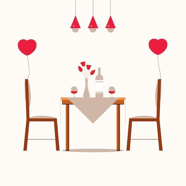 Romantyczna Kolacja Para Kochanków Premium Wektorów