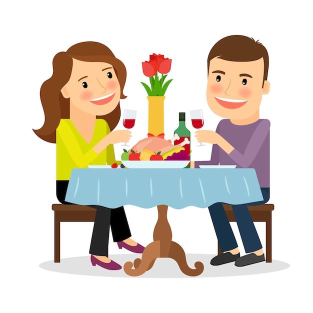 Romantyczna Kolacja W Restauracji Premium Wektorów