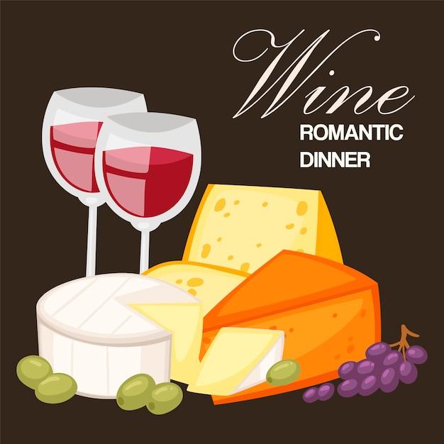 Romantyczna kolacja z winem. Premium Wektorów
