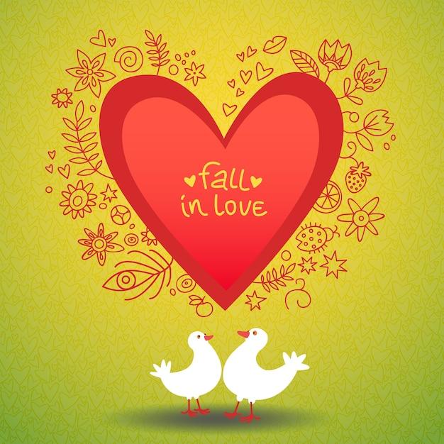 Romantyczna Miłość Walentynki Karta Z Dwoma Gołębiami Wokół Ilustracji Czerwonego Serca Darmowych Wektorów