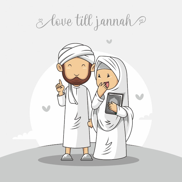 Romantyczna Muzułmańska Para Z Ręka Rysującym Islamskim Ilustracyjnym Wektorem Premium Wektorów