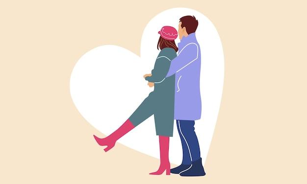 Romantyczna Para. Mężczyzna Przytulił Swoją Dziewczynę Premium Wektorów
