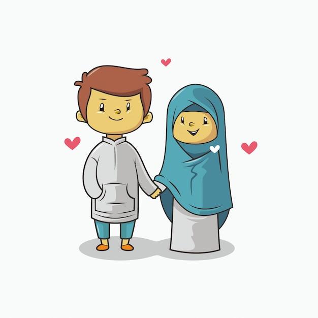 Romantyczna Para Muzułmańska Premium Wektorów