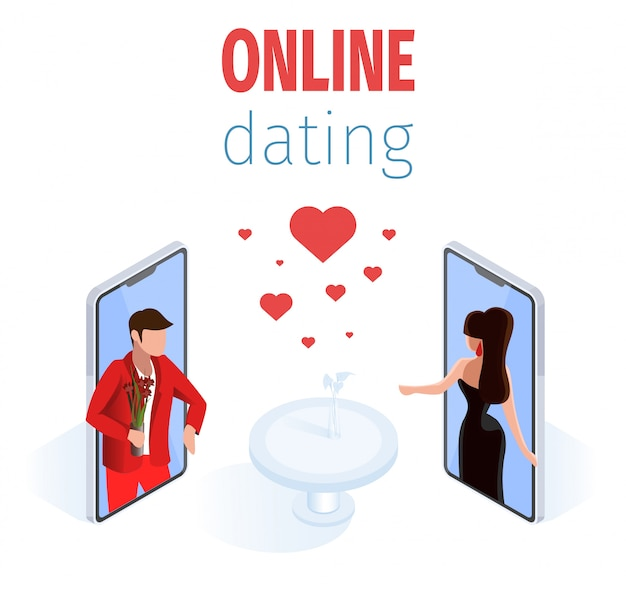 Romantyczna Para Na Stole Restauracji Ekranu Telefonu Premium Wektorów