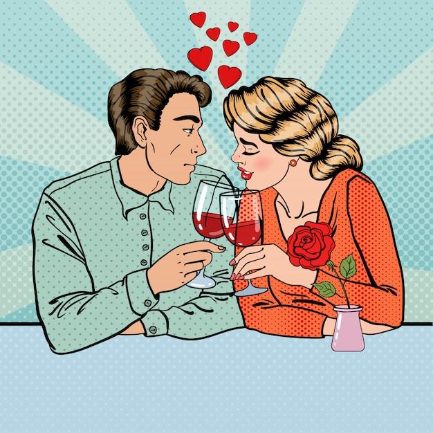 Romantyczna Para Z Kieliszków Wina W Restauracji. Pop Art. Premium Wektorów