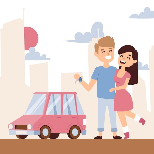Romantyczna Para Z Nowym Samochodem Premium Wektorów