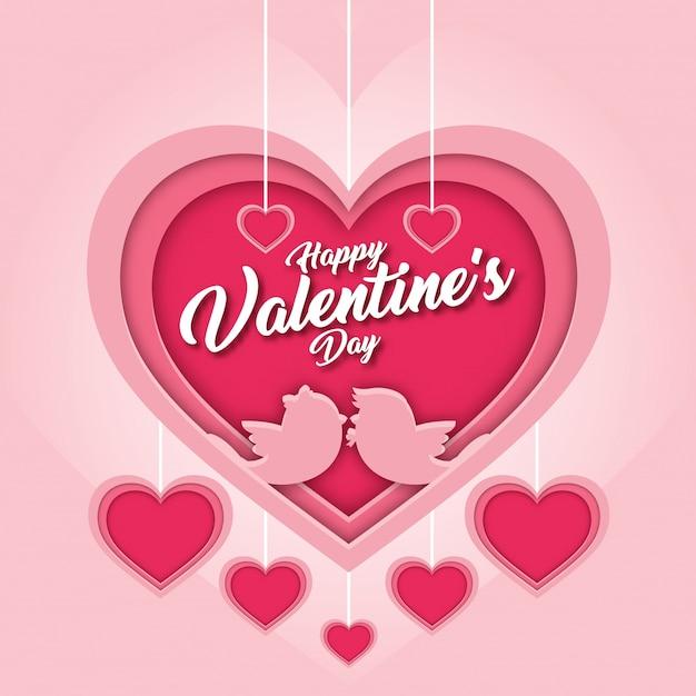 Romantyczna różowa szczęśliwa walentynka papieru sztuki karty ilustracja Darmowych Wektorów
