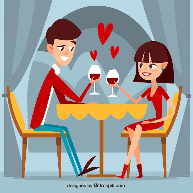 Romantyczna scena kolacja w płaskiej konstrukcji Darmowych Wektorów