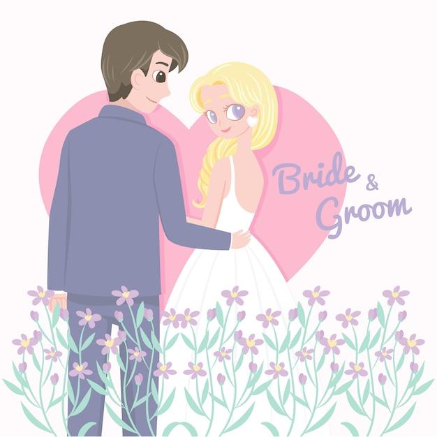 Romantyczne małżeństwo z kwiatami Premium Wektorów