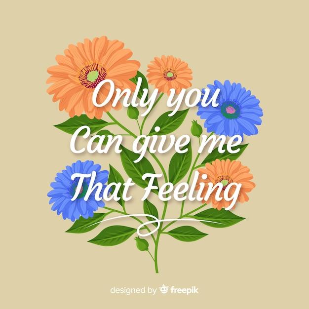 Romantyczne Przesłanie Z Kwiatami: To Uczucie Darmowych Wektorów