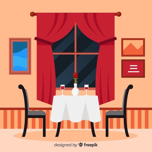 Romantyczne Wnętrze Restauracji O Płaskiej Konstrukcji Darmowych Wektorów
