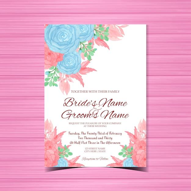 Romantyczne zaproszenie na ślub z niebieskimi i różowymi kwiatami Premium Wektorów