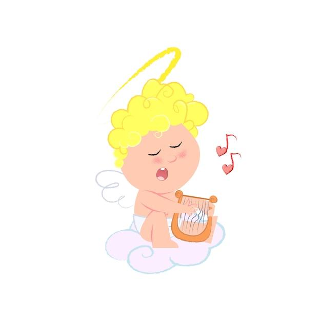 Romantyczny amorek gra na harfie i śpiewa piosenkę miłosną Darmowych Wektorów