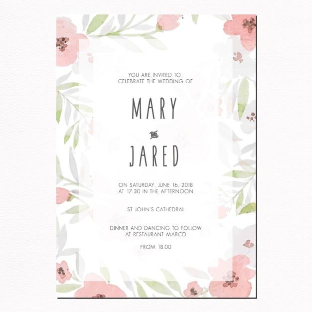 Romantyczny kwiatowy zaproszenie na ślub Darmowych Wektorów