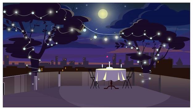 Romantyczny Obiad Na Dachu Z Ilustracji Serwowane Tabela Darmowych Wektorów