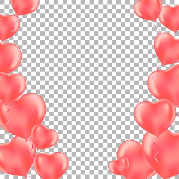 Romantyczny Tło Z Balonów Serce Róży. Premium Wektorów