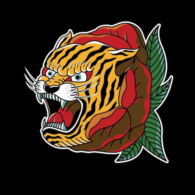 Rose Tiger Vintage Tattoo Illustration Premium Wektorów