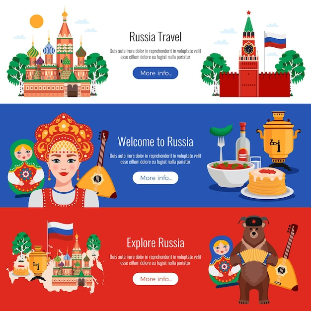 Rosja Podróż Symbole Tradycje Zabytki 3 Poziome Płaskie Bannery Ustawione Z Kremową Wódką Darmowych Wektorów