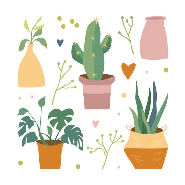 Rośliny Domowe W Zestawie Doniczka Darmowych Wektorów