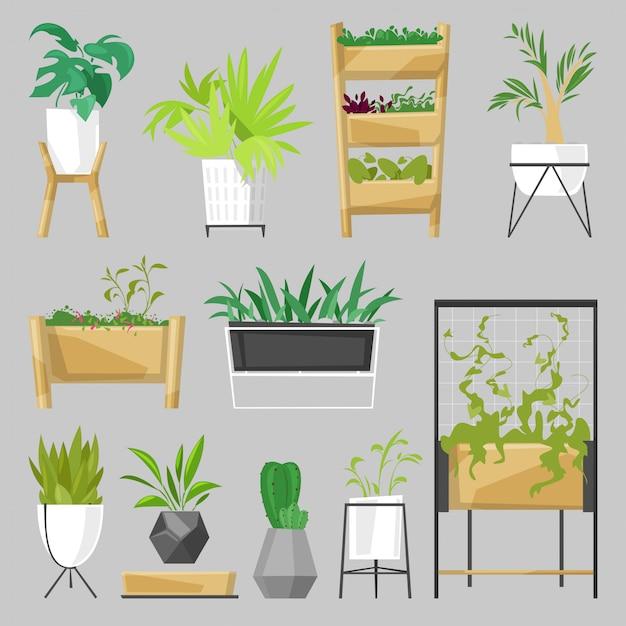 Rośliny W Doniczkach Doniczkowe Rośliny Doniczkowe Kryty Kaktusy Botaniczne Aloes Do Dekoracji Domu Z Kolekcji Kwiatów Ilustracji Ogród Botaniczny Na Białym Tle Premium Wektorów