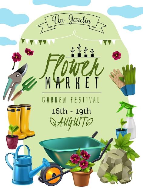 Rośliny Wiejskie Festiwal Kwiat Rynek Ogłoszenie Plakat Z Datami Wydarzeń I Reklamą Narzędzi Ogrodniczych Akcesoria Darmowych Wektorów