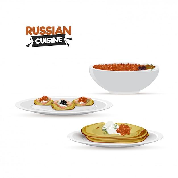 Rosyjska Kuchnia Dla Restauracji Lub Zakątków żywności. Premium Wektorów