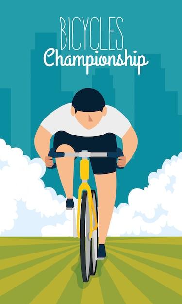 Rower Mistrzostwa Plakat Z Mężczyzną W Rowerze Premium Wektorów
