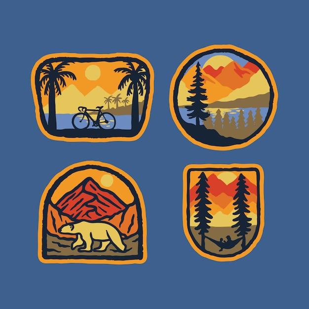 Rowerowej Natury Niedźwiedzia Polarnego Natury Odznaki łaty Szpilki Grafiki Dzika Ilustracja Premium Wektorów