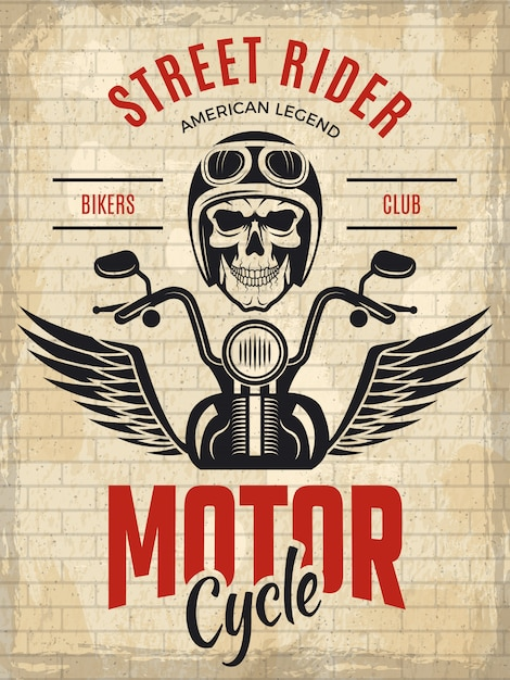 Rowerzyści Plakat Retro. Czaszka Motocykl Gang Jeździec Koncepcja Plakat Szablon Wektor Premium Wektorów