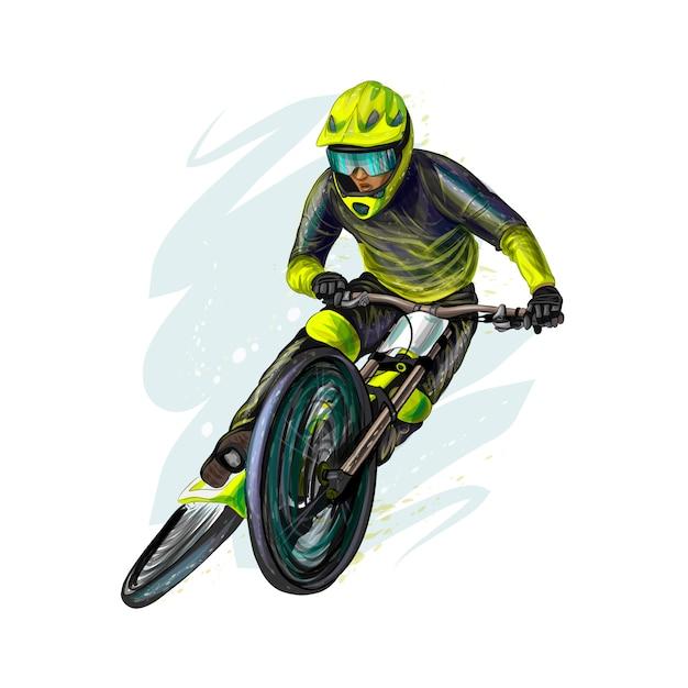 Rowerzysta Na Rowerze Górskim. Realistyczne Ilustracje Wektorowe Farb Premium Wektorów