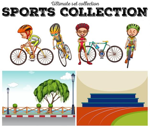 Rowerzystów Z Ilustracjami Rowerów I Wyścigów Darmowych Wektorów