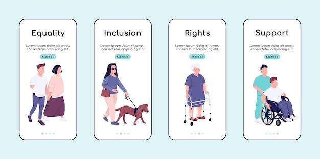 Równość Osób Niepełnosprawnych I Wsparcie Przy Wdrażaniu Płaskiego Szablonu Ekranu Aplikacji Mobilnej. Przewodnik Po Witrynie Z Postaciami. Interfejs Rysunkowy Smartfona Ux, Ui, Gui, Zestaw Wydruków Skrzynek Premium Wektorów