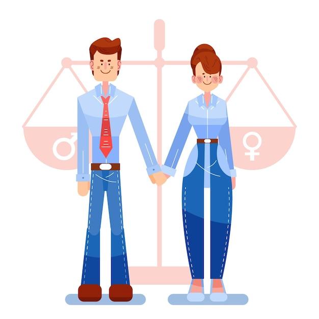 Równość Płci Ilustracyjny Projekt Darmowych Wektorów