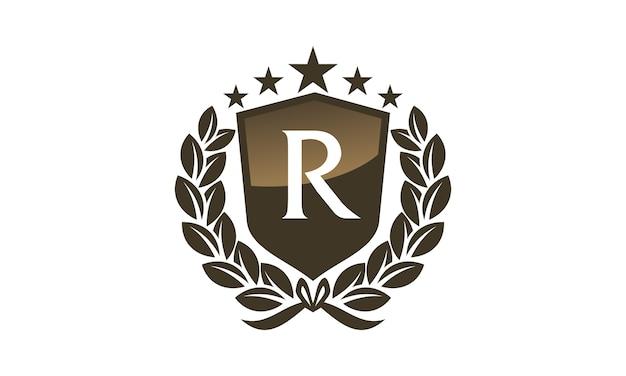 Royal Vip Shield Leaf Initial R Premium Wektorów