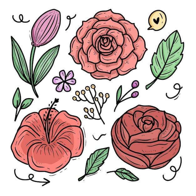 Róża Kwiat Ornament Wektor Ilustracja Kreskówka Zestaw Kolekcji Premium Wektorów