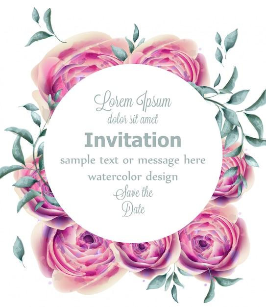 Róża Kwiatów Akwarela Okrągłe Ramki Z Zielonymi Gałązkami Premium Wektorów