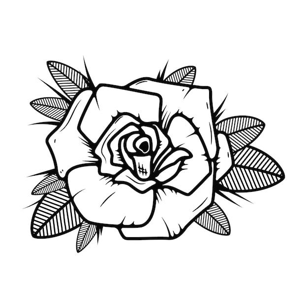 Róża Styl Tatuaż Ilustracja Na Białym Tle. Elementy Logo, Etykiety, Godła, Znaku. Ilustracja Premium Wektorów