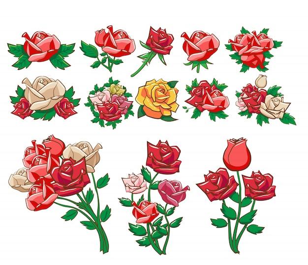 Róża wektor zestaw clipart Premium Wektorów