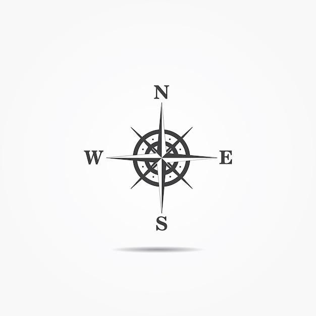 Róża Wiatrów Kompas Ikona Na Szarym Tle Wektor Premium