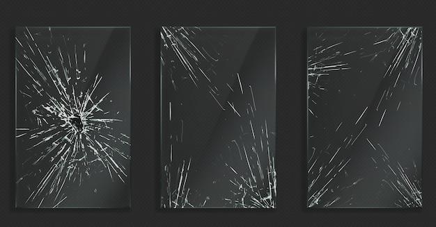 Rozbite Szkło Z Pęknięciami I Dziurą Od Uderzenia Darmowych Wektorów