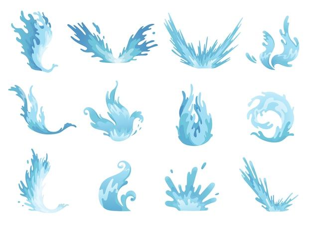 Rozbryzg Wody. Ustawione Fale Niebieskiej Wody, Faliste Płynne Symbole Przyrody W Ruchu. Premium Wektorów